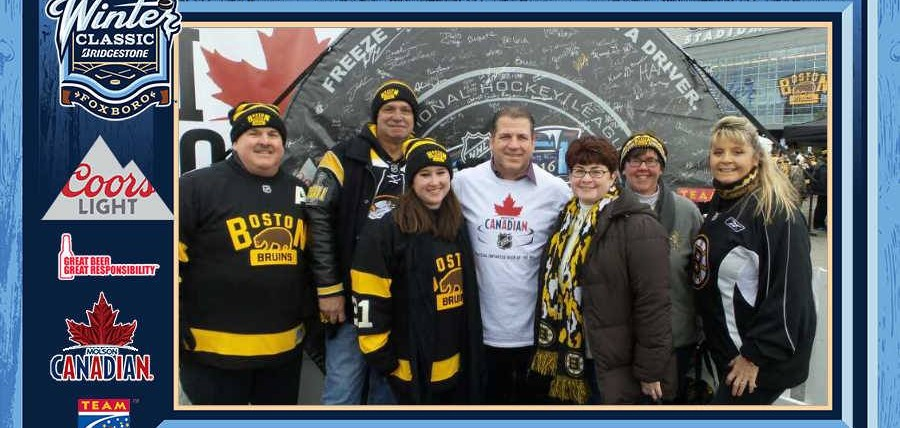 Former Boston Bruin, Mark Recchi, posed with NHL Winter Classic® fans after scoring two goals and earning Most Valuable Player honors at the 2016 Winter Classic Alumni Game.